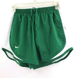Nike Dri-fit green & white lined running shorts S